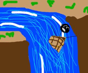 Man in barrel falling down waterfall yeet