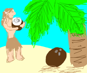 Man smelling a giant coconut (?)
