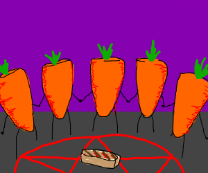 five carrots surrounding a grilled steak