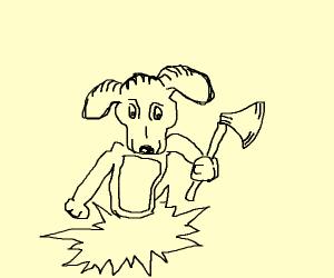 a dog with an ax