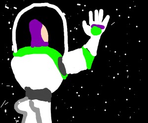 Buzz looking out to space