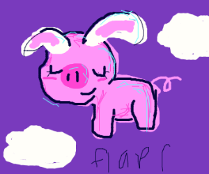 Pig uses bunny ears to fly