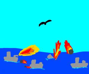 Bird flying above a sea battle