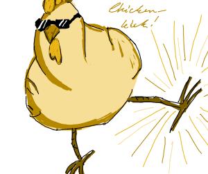alpha chicken doing the super chicken kick