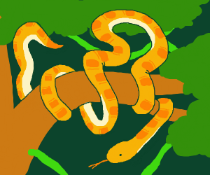 Snake is curled unrealistically around branch