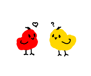 Red bird loves yellow bird but both confused