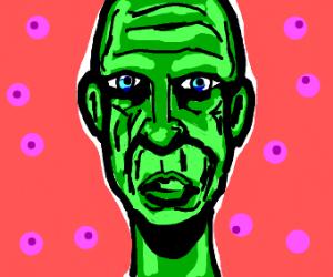green man with narrow skull