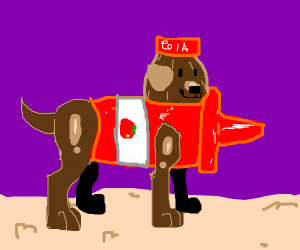 A dog fused with Cola and ketchup