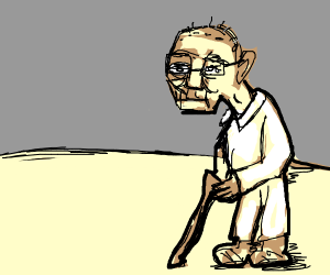 Old man with a walking stick