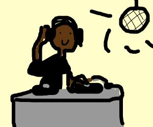 Black DJ in psychedelic disco