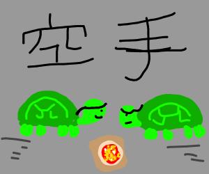 ninja turtles have pizza
