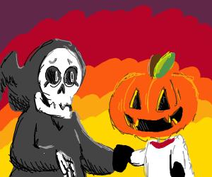 Grim Reaper serenaded by the Great Pumpkin!
