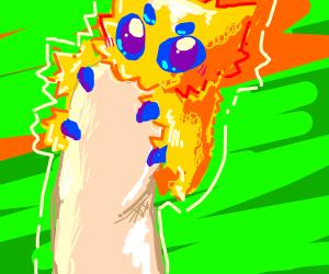 Smol Joltic on tip on finger