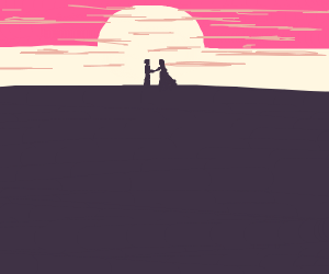 Couple holding hands and watching sunsest