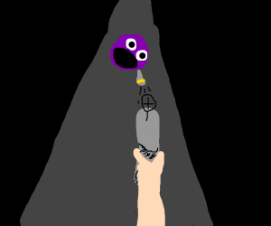 Purple blob head 'bout to get shot