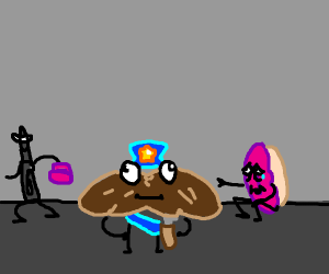 A donut being mugged