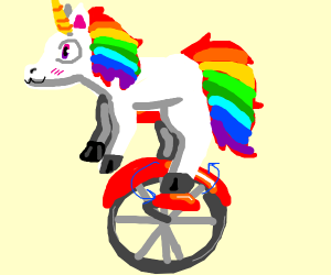 A unicorn riding a unicycle