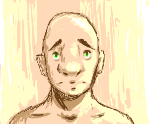 bald guy with huge nose is upset
