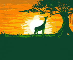 a giraffe by some trees