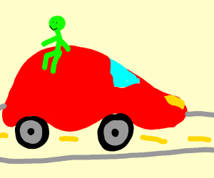 a cAR THAT has a green person sitting on it