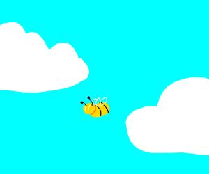 Bee between clouds