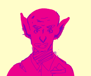 An angry pink goblin