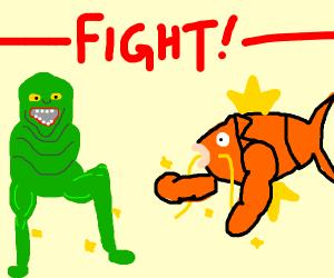 Slimer w/legs vs buff Magikarp w/arms