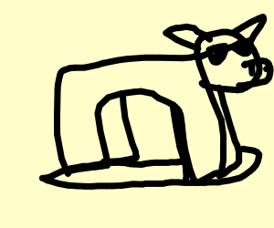 Black cow with sunglasses riding a hoverboard