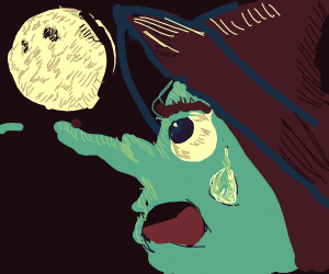 witch with green face is worried about moon