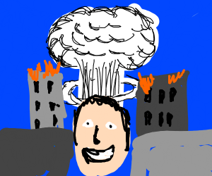 Man smiles with apocalypse in the background