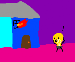 Light bulb burn his house