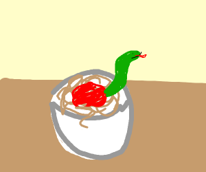 snake in a bowl of spaghetti