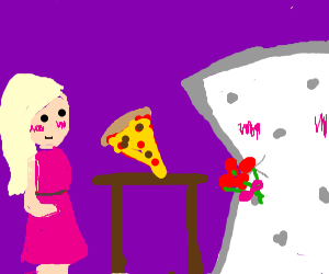 Lady and mattress on pizza date