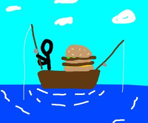 a guy fishing with a big mac