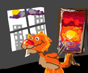 Lion creates masterpiece