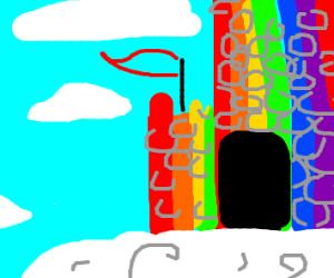 Rainbow castle on a cloud