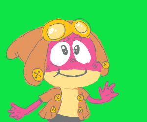 Pink frog with hat and goggles