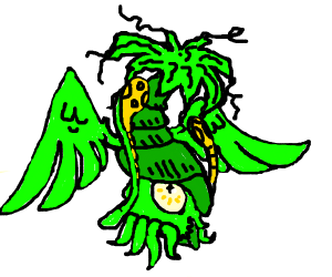 Green squid with wings has bad hair day.