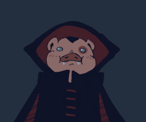 Guilty pig that has fangs