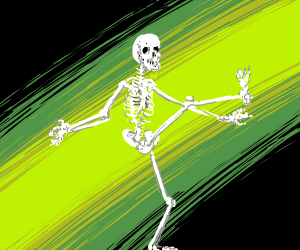 A skeleton doing the can-can