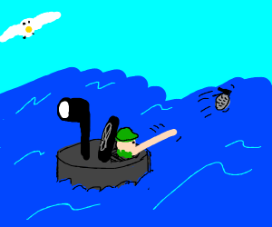 Army mans throws a grenade from a submarine