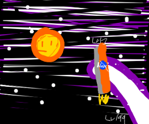 a giant captures a nasa rocket/space shuttle