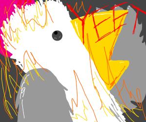 A chicken on fire yelling yeet