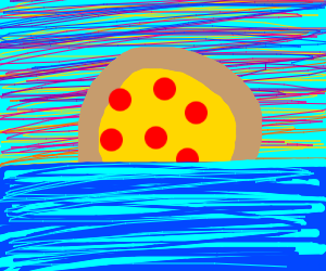 Sunset with the sea, but the sun is a pizza
