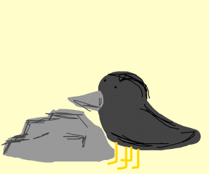 Birb with four legs pecking at a roc