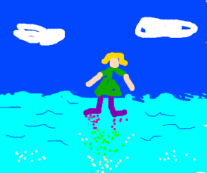 Girl walks on water