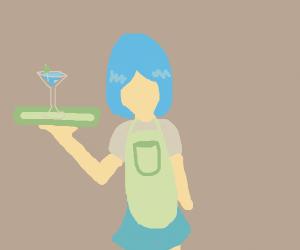 Girl with short blue hair serves martini