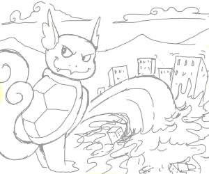 Giant wartortle destroying city
