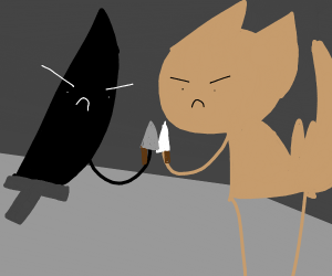 Cat and sword have a sword fight
