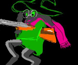 Ralsei with a shotgun